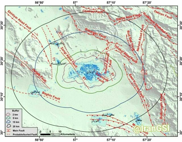 ۱۴ گسل در شعاع ۲۵ کیلومتری کرمان شناسایی شد