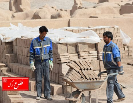 <h5>گزارش تصویری گارگاه خشت زنی بازسازی ارگ بم</h5><br><div>عکس : طلوع ارگ - علی ... </div>